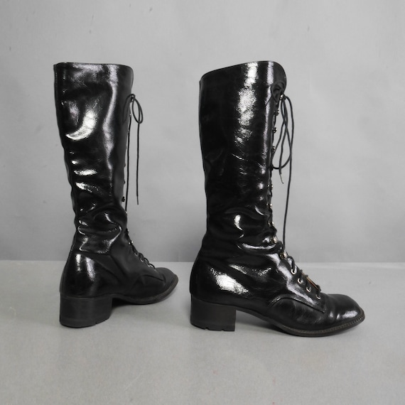 Women 60s boots VTG Go 60s boots Chunk 36 Black Size Boots Vintage MOD 1960s vinyl up High Gladiator Go Lace Heel boots Patent Knee Leather 0HCqawU0