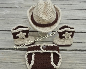 Baby Cowboy Outfit, Newborn Cowboy Outfit, Beige Cowboy Hat, Baby Cowboy Boots, Brown Cowboy Outfit, Crochet Cowboy Cowgirl Outfit Photo Set