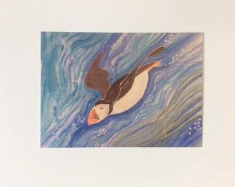 Swimming puffin postcard