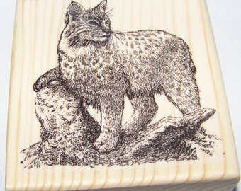 Brand New Mounted Rubber Stamps - Bobcat