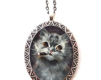Smoking Cat Necklace Pendant Silver Tone - Smoker Cats Illustration