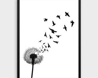 Dandelion Wall Print | Wall Print Dandelion, Dandelion Prints, Dandelion Print, Dandelion Printable, Dandelion Art Print, Scandinavian Wall.