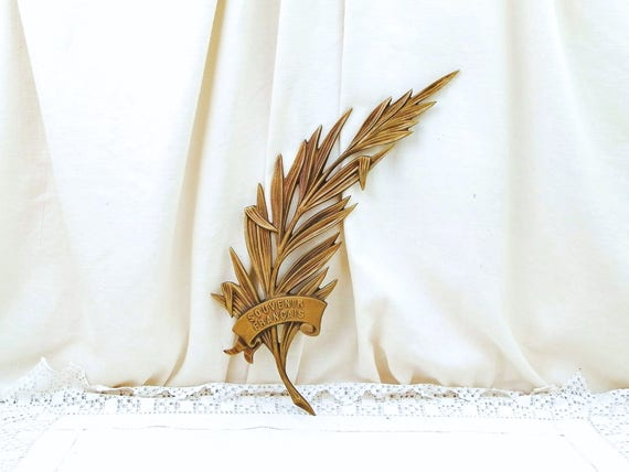 "Antique French Decorative Cast Bronze Metal Palms Leaves with Scroll ""Souvenir Francais"" French Souvenir by the Artist M Thomas, Curios"