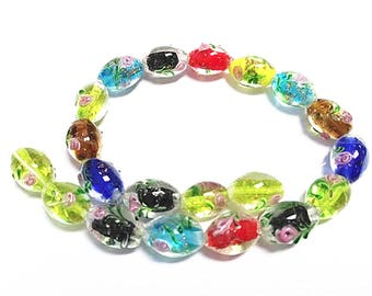 20pc mix color 16x11mm oval lampwork glass beads-8515D