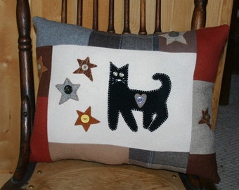 Primitive Cat Pillow Halloween Wool Black Cat Stars Upcycled Eco-friendly Accent Appliqued Pillow Fall Harvest by Northernlodge on Etsy