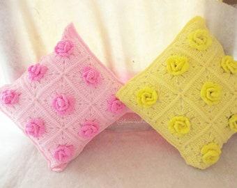 Rose pillow crochet:pillow,crochet,pillow crochet,handmade,craft,rose,flowers,rose crochet,crochet,handmade Thailand