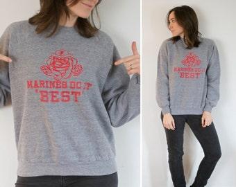 SALE! Vintage Marines Sweatshirt Jerzees Grid Tag