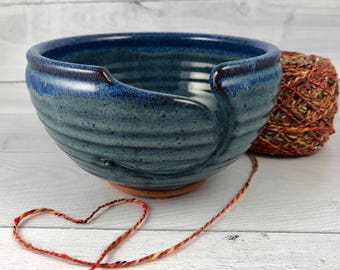 Yarn Bowl -  Large Knitting Bowl - Ceramic Yarn Bowl  - Blue Yarn Bowl - In Stock - Ready to Ship - Yarn Bowl for Knitting by Neal Pottery
