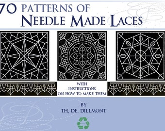 70 PATTERNS for NEEDLE Made LACES including Instructions on How To Make Them 64 pages Printable Instant Download