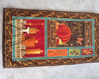 """Quilted Wall Hanging """"Give Thanks""""   23"""" x 43"""""""