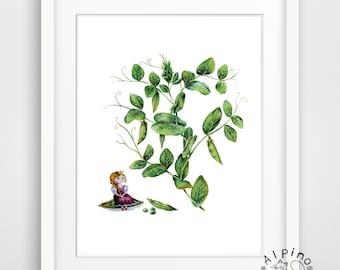 The Princess and the Pea art print, UNFRAMED, fairy tale illustration, princess illustration, nursery decor, botanical illustration