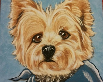 Custom Pet Portrait Painting 12x12 hand painted Pet Memorial dog cat
