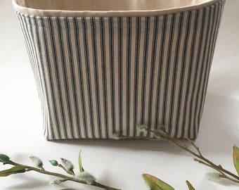 blue ticking stripe fabric bin // storage basket