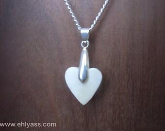 Heart handmade ox bone pendant
