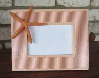 Decoupage Coastal Beach Picture Frame with Starfish