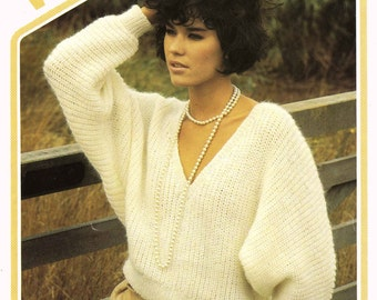 Vintage Ladies Batwing Sweater, Knitting Pattern, 1960 (PDF) Pattern, Wendy 2367