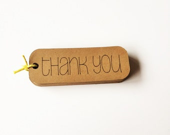 "Kraft Thank You Tags (3"" wide), Rustic Thank You Favor Tags, All Purpose Thank You Tags"