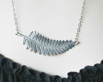 Silver leaf necklace, large pendant, gift for her, nature jewelry, womens gift, fern necklace