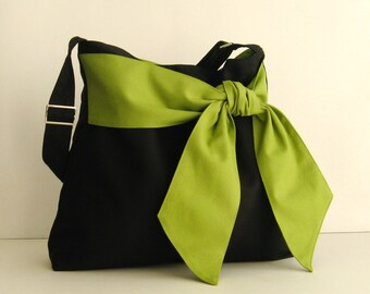 Sale - Black Cotton Twill Cross body Bag, tote, handbag, diaper bag, messenger, bow, stylish, fashionable - Ninny