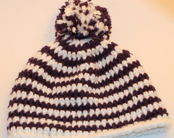 Purple and White Striped Crochet Hat