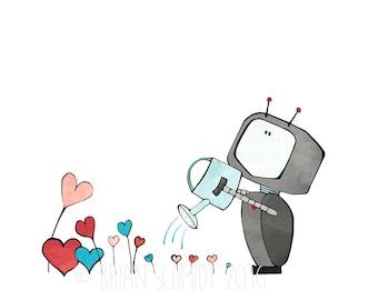 Whimsical Robot Nursery Print - Heart Flowers, Robot Illustration, Kids Room Art, Robot Garden