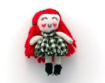 Small cute rag doll, Doll for dollhouse, handmade rag doll, with red hair made of yarn, wearing black and white dress