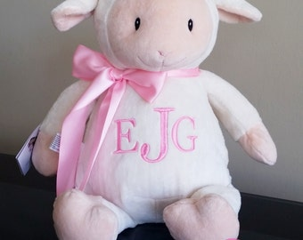 personalized stuffed animal, stuffed lamb, Monogrammed baby gift, personalized baby gift, baby shower gift, monogrammed baby cubbies,