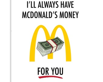 MCDONALDS - Funny Card, Mother's Day Card, Card for Friend, Card for Birthday, Miscellaneous Card, Pop Culture Card
