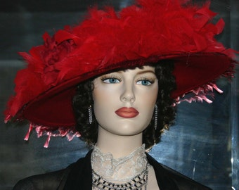 Edwardian Hat, Downton Abbey Hat, Kentucky Derby Hat, Ascot Hat, Titanic Hat, Somewhere Time Hat, Red Hat Society, Feather Hat - Lady Amy