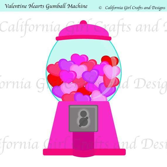 Valentine Hearts Gumball Machine Clipart - Singles Pack Instant Download