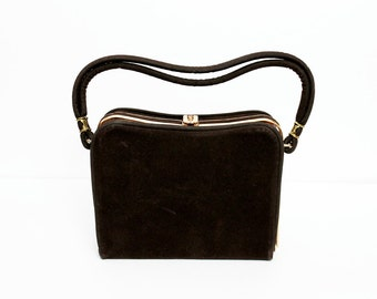 1950s Brown Suede Box Purse
