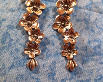 Floral Trail Earrings - Silver Tone