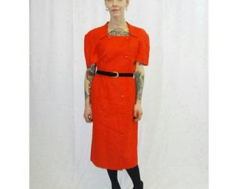 Vintage Red Carolina Herrera Short Sleeve Suit Dress/ 1980's Carolina Herrera Mid-Length Pin-up Style Dress/ Red Valentine's Day Dress