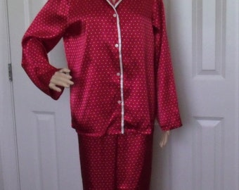 Gilligan & O'Malley Satin Pajamas PJs, Sz Medium 2 Piece Red  w/White Dots