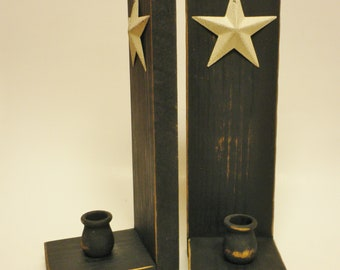 Square Cut Candle Sconce with Star - Made To Order, Primitive Candle Holders, Country Farmhouse Decor, Candle Sconces, Wood Candle Holders