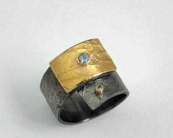 Wide band gold and silver wrap ring with an aquamarine gemstone and a small diamond, Gift for her, Mixed metal ring, Textured ring.