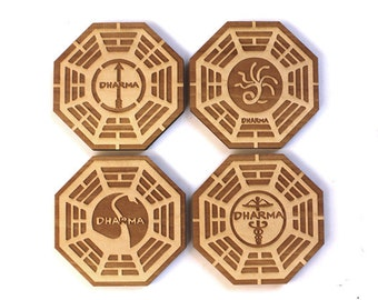 4 pc. Wood Coasters: Dharma Initiative