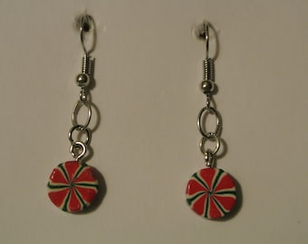 Small Red, Green and White Pepperment Earrings with Silver Fishhook