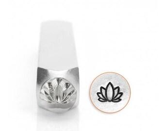 ImpressArt Metal Stamps LOTUS Stamp, Outline Lotus Flower Design Stamp, 6mm Yoga Meditation Design, Metal Stampng Tool, Jewelry Making