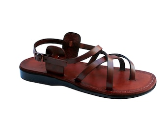 Brown Triple Leather Sandals For Men & Women - Handmade Sandals, Leather Flats, Leather Flip Flops, Unisex Sandals, Brown Leather Sandals
