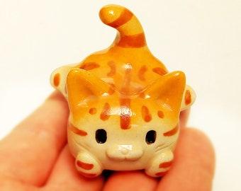 Pen rest of tabby cat shape  #1  Ceramics figurine