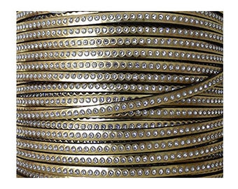 37 cm, 6 mm golden leather with strass