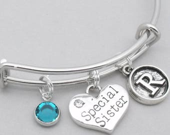 Special sister vintage style initial charm bracelet | sister bangle | personalised sister bracelet | sister jewelry | special sister gift