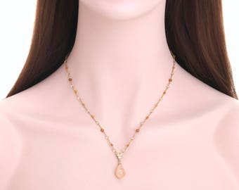 Moonstone pendant necklace, Gemstone detail necklace, Gold plated 925 sterling silver necklace -jn03