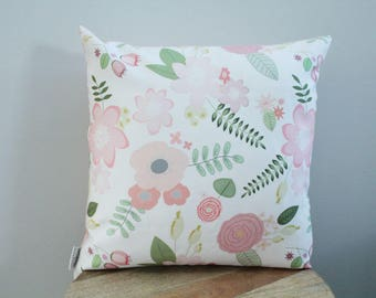 Pillow cover coral flower floral 18 inch 18x18 modern hipster accessory home decor nursery baby gift present zipper canvas ready to ship