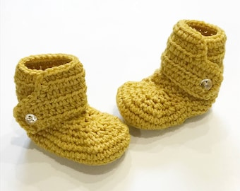 FREE SHIPPING! Baby boots, crochet baby boots, mustard yellow with clear buttons