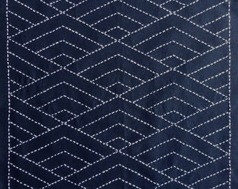 Japanese sashiko fabric - Hishi Seigaiha (diamond waves) panel number 2037