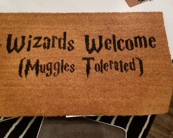 Doormats welcome mats stranger things harry potter