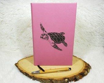 Sea Turtle Journal - Faux Leather Journal - Laser Engraved - Nautical Diary