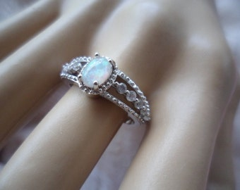 Antique Art Deco Vintage Sterling Silver Ring with Opal and Sapphires ring size 9 or S